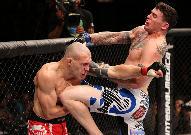 RIO DE JANEIRO, BRAZIL - OCTOBER 13:  (R-L) Chris Camozzi delivers a knee strike against Luiz Cane during their middleweight fight at UFC 153 inside HSBC Arena on October 13, 2012 in Rio de Janeiro, Brazil.  (Photo by Josh Hedges/Zuffa LLC/Zuffa LLC via Getty Images)