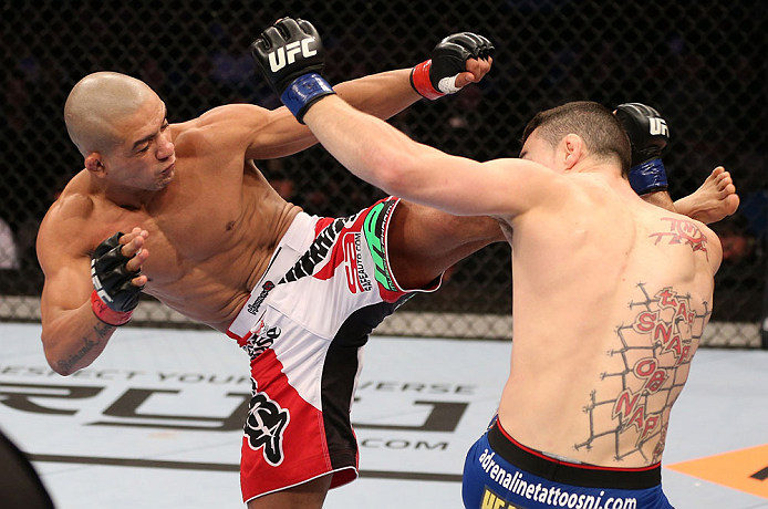 RIO DE JANEIRO, BRAZIL - OCTOBER 13:  (L-R) Diego Brandao kicks Joey Gambino during their featherweight fight at UFC 153 inside HSBC Arena on October 13, 2012 in Rio de Janeiro, Brazil.  (Photo by Josh Hedges/Zuffa LLC/Zuffa LLC via Getty Images)