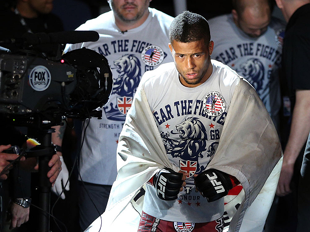 NOTTINGHAM, ENGLAND - SEPTEMBER 29:  Jason Young enters the arena before his featherweight fight against Robbie Peralta at the UFC on Fuel TV event at Capital FM Arena on September 29, 2012 in Nottingham, England.  (Photo by Josh Hedges/Zuffa LLC/Zuffa LLC via Getty Images)