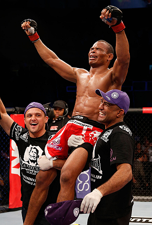 SAO PAULO, BRAZIL - JANUARY 19:   Francisco Trinaldo reacts after defeating C.J. Keith in their lightweight fight at the UFC on FX event on January 19, 2013 at Ibirapuera Gymnasium in Sao Paulo, Brazil. (Photo by Josh Hedges/Zuffa LLC/Zuffa LLC via Getty Images)