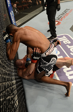 ANAHEIM, CA - FEBRUARY 23:  Neil Magny (top) punches Jon Manley in their welterweight bout during UFC 157 at Honda Center on February 23, 2013 in Anaheim, California.  (Photo by Donald Miralle/Zuffa LLC/Zuffa LLC via Getty Images) *** Local Caption *** Jon Manley; Neil Magny