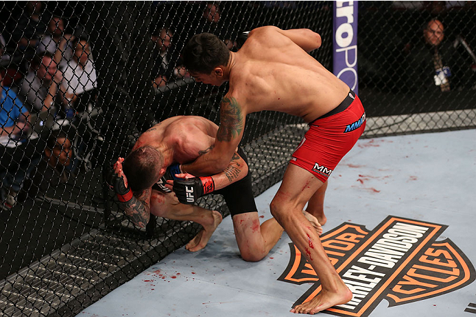HOUSTON, TEXAS - OCTOBER 19:  (R-L) Andre Fili punches Jeremy Larsen in their UFC featherweight bout at the Toyota Center on October 19, 2013 in Houston, Texas. (Photo by Nick Laham/Zuffa LLC/Zuffa LLC via Getty Images)