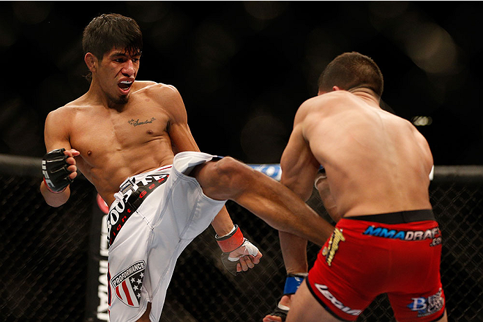 LAS VEGAS, NV - NOVEMBER 16:  (L-R) Will Campuzano kicks Sergio Pettis in their bantamweight bout during the UFC 167 event inside the MGM Grand Garden Arena on November 16, 2013 in Las Vegas, Nevada. (Photo by Josh Hedges/Zuffa LLC/Zuffa LLC via Getty Images) *** Local Caption *** Will Campuzano; Sergio Pettis