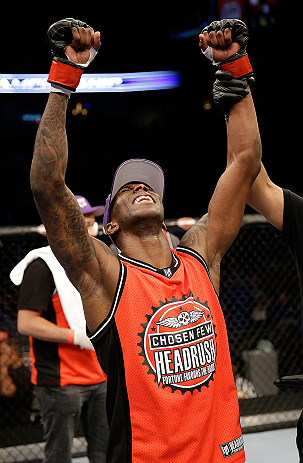 SAN JOSE, CA - APRIL 20:   Anthony Njokuani reacts to his knockout victory over Roger Bowling in their lightweight bout during the UFC on FOX event at the HP Pavilion on April 20, 2013 in San Jose, California.  (Photo by Ezra Shaw/Zuffa LLC/Zuffa LLC via Getty Images)  *** Local Caption *** Anthony Njokuani; Roger Bowling
