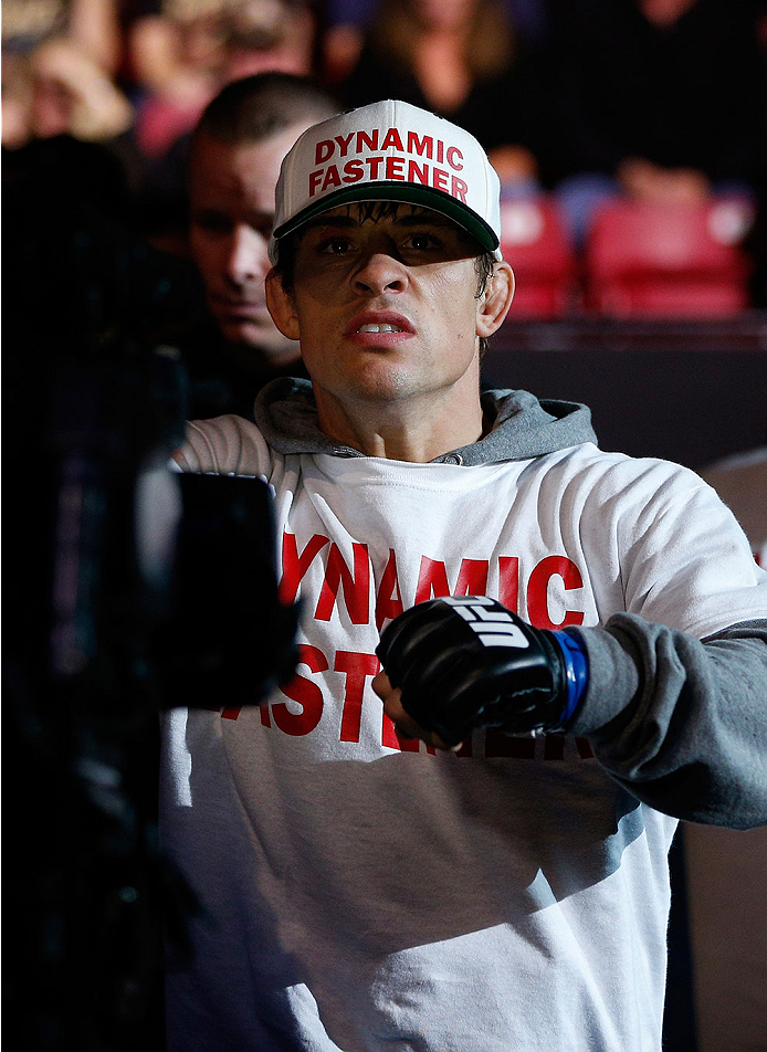 SACRAMENTO, CA - DECEMBER 14:  Roger Bowling walks to the Octagon to face Abel Trujillo in their lightweight bout during the UFC on FOX event at Sleep Train Arena on December 14, 2013 in Sacramento, California. (Photo by Josh Hedges/Zuffa LLC/Zuffa LLC via Getty Images) *** Local Caption ***  Roger Bowling