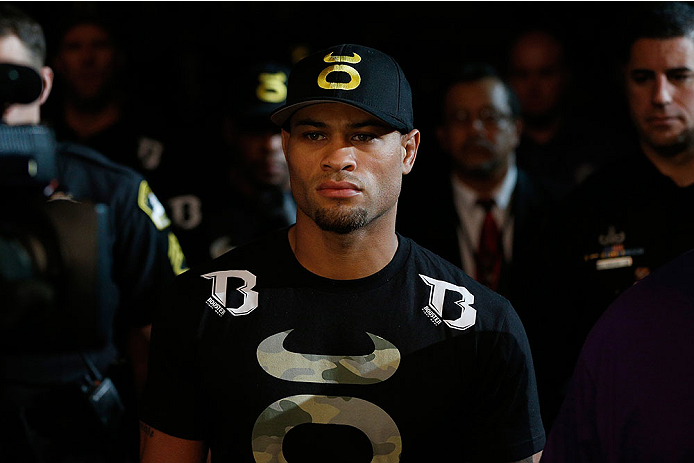 SACRAMENTO, CA - DECEMBER 14:  Abel Trujillo walks to the Octagon to face Roger Bowling in their lightweight bout during the UFC on FOX event at Sleep Train Arena on December 14, 2013 in Sacramento, California. (Photo by Josh Hedges/Zuffa LLC/Zuffa LLC via Getty Images) *** Local Caption *** Abel Trujillo
