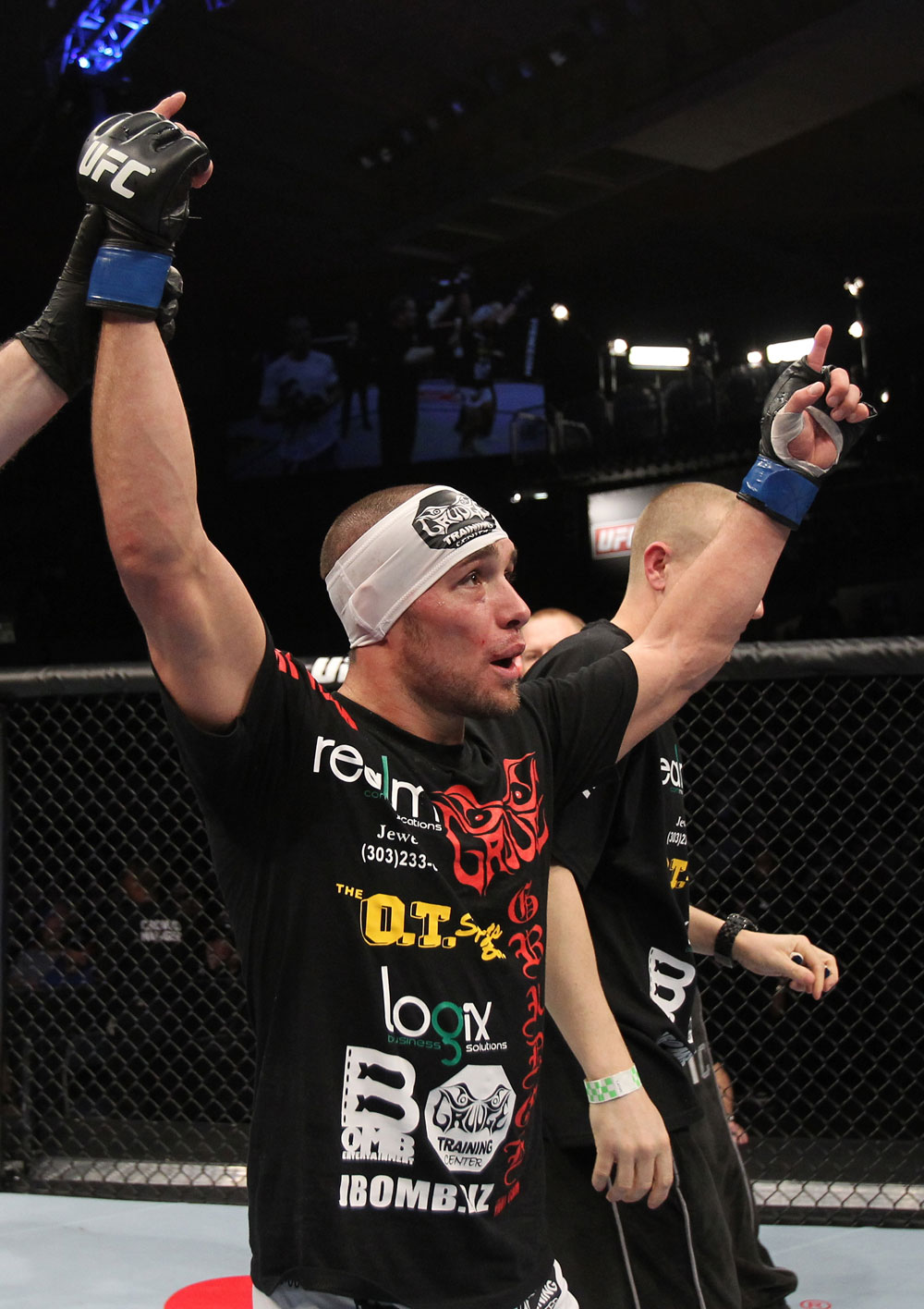 OMAHA, NE - FEBRUARY 15:  Justin Salas reacts after defeating Anton Kuivanen during the UFC on FUEL TV event at Omaha Civic Auditorium on February 15, 2012 in Omaha, Nebraska.  (Photo by Josh Hedges/Zuffa LLC/Zuffa LLC via Getty Images) *** Local Caption *** Justin Salas