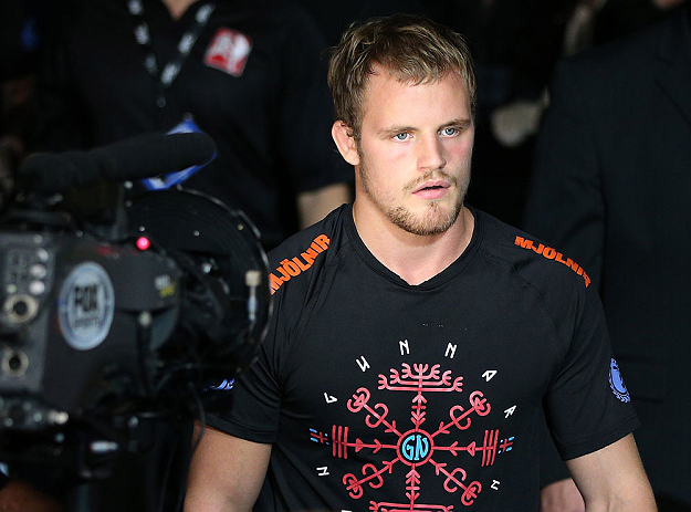 NOTTINGHAM, ENGLAND - SEPTEMBER 29:  Gunnar Nelson enters the arena before his catchweight fight against DaMarques Johnson at the UFC on Fuel TV event at Capital FM Arena on September 29, 2012 in Nottingham, England.  (Photo by Josh Hedges/Zuffa LLC/Zuffa LLC via Getty Images)