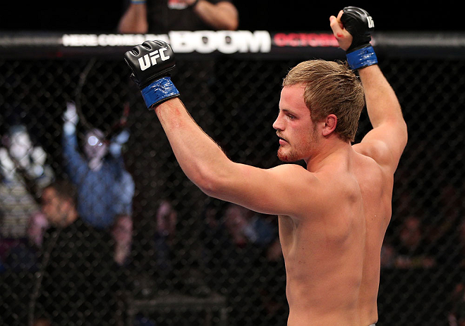 NOTTINGHAM, ENGLAND - SEPTEMBER 29:  Gunnar Nelson reacts after defeating DaMarques Johnson during their catchweight fight at the UFC on Fuel TV event at Capital FM Arena on September 29, 2012 in Nottingham, England.  (Photo by Josh Hedges/Zuffa LLC/Zuffa LLC via Getty Images)
