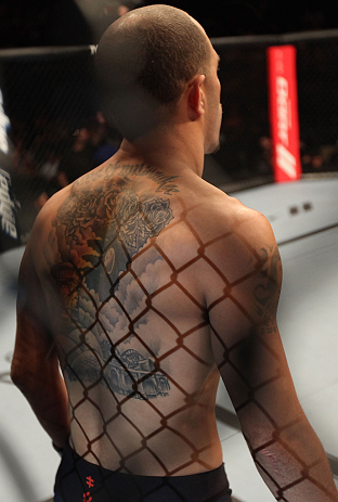 DENVER, CO - AUGUST 11:  Chico Camus stands in the Octagon before his bout against Dustin Pague at UFC 150 inside Pepsi Center on August 11, 2012 in Denver, Colorado. (Photo by Nick Laham/Zuffa LLC/Zuffa LLC via Getty Images)