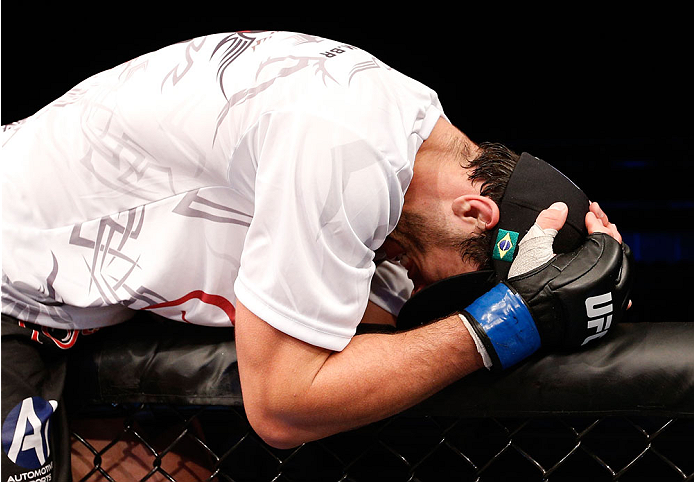 BELO HORIZONTE, BRAZIL - SEPTEMBER 04:  Elias Silverio reacts after his victory over Joao Zeferino in their welterweight fight during the UFC on FOX Sports 1 event at Mineirinho Arena on September 4, 2013 in Belo Horizonte, Brazil. (Photo by Josh Hedges/Zuffa LLC/Zuffa LLC via Getty Images)