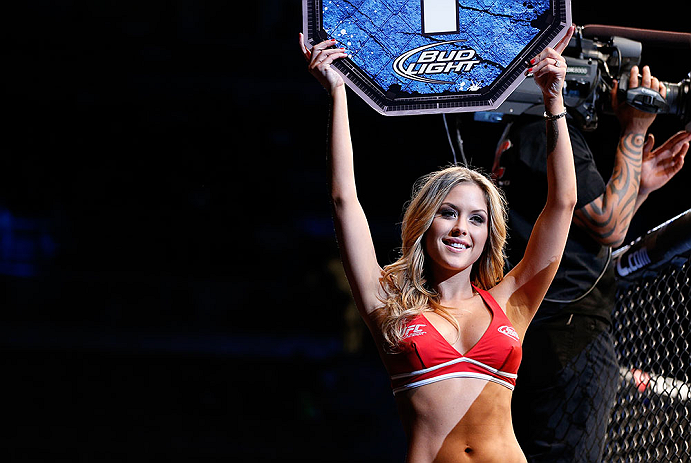 LAS VEGAS, NV - FEBRUARY 02:  UFC Octagon Girl Brittney Palmer introduces round one of Yves Edwards and Isaac Vallie-Flagg&#39;s lightweight fight at UFC 156 on February 2, 2013 at the Mandalay Bay Events Center in Las Vegas, Nevada.  (Photo by Josh Hedges/Zuffa LLC/Zuffa LLC via Getty Images) *** Local Caption *** Yves Edwards; Isaac Vallie-Flagg