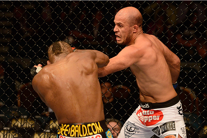 LAS VEGAS, NV - DECEMBER 28:  (R-L) Siyar Bahadurzada punches John Howard in their welterweight bout during the UFC 168 event at the MGM Grand Garden Arena on December 28, 2013 in Las Vegas, Nevada. (Photo by Donald Miralle/Zuffa LLC/Zuffa LLC via Getty Images) *** Local Caption *** John Howard; Siyar Bahadurzada