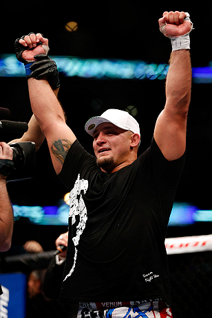 CHICAGO, IL - JANUARY 26:  Shawn Jordan celebrates defeating Mike Russow during their Heavyweight Bout part of UFC on FOX at United Center on January 26, 2013 in Chicago, Illinois.  (Photo by Josh Hedges/Zuffa LLC/Zuffa LLC Via Getty Images)