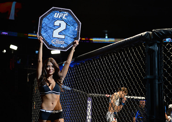 SEATTLE, WA - JULY 27: UFC Octagon Girl Arianny Celeste introduces round two of Kedzie vs de Randamie in their bantamweight bout during the UFC on FOX event at Key Arena on July 27, 2013 in Seattle, Washington. (Photo by Jeff Bottari/Zuffa LLC/Zuffa LLC via Getty Images) *** Local Caption *** Arianny Celeste