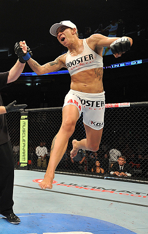 SEATTLE, WA - JULY 27: Germaine de Randamie reacts to her victory over Julie Kedzie in their bantamweight bout during the UFC on FOX event at Key Arena on July 27, 2013 in Seattle, Washington. (Photo by Jeff Bottari/Zuffa LLC/Zuffa LLC via Getty Images) *** Local Caption *** Julie Kedzie; Germaine de Randamie