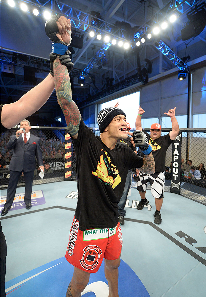 FORT CAMPBELL, KENTUCKY - NOVEMBER 6:  Yancy Medeiros is declared the winner against Yves Edwards after their UFC lightweight bout on November 6, 2013 in Fort Campbell, Kentucky. (Photo by Jeff Bottari/Zuffa LLC/Zuffa LLC via Getty Images) *** Local Caption ***Yves Edwards; Yancy Medeiros