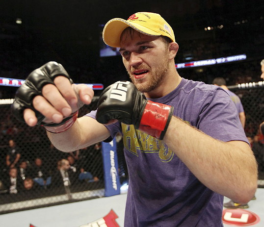 CALGARY, CANADA - JULY 21:  Bryan Caraway celebrates after defeating Mitch Gagnon during their bantamweight bout at UFC 149 inside the Scotiabank Saddledome on July 21, 2012 in Calgary, Alberta, Canada.  (Photo by Nick Laham/Zuffa LLC/Zuffa LLC via Getty Images)