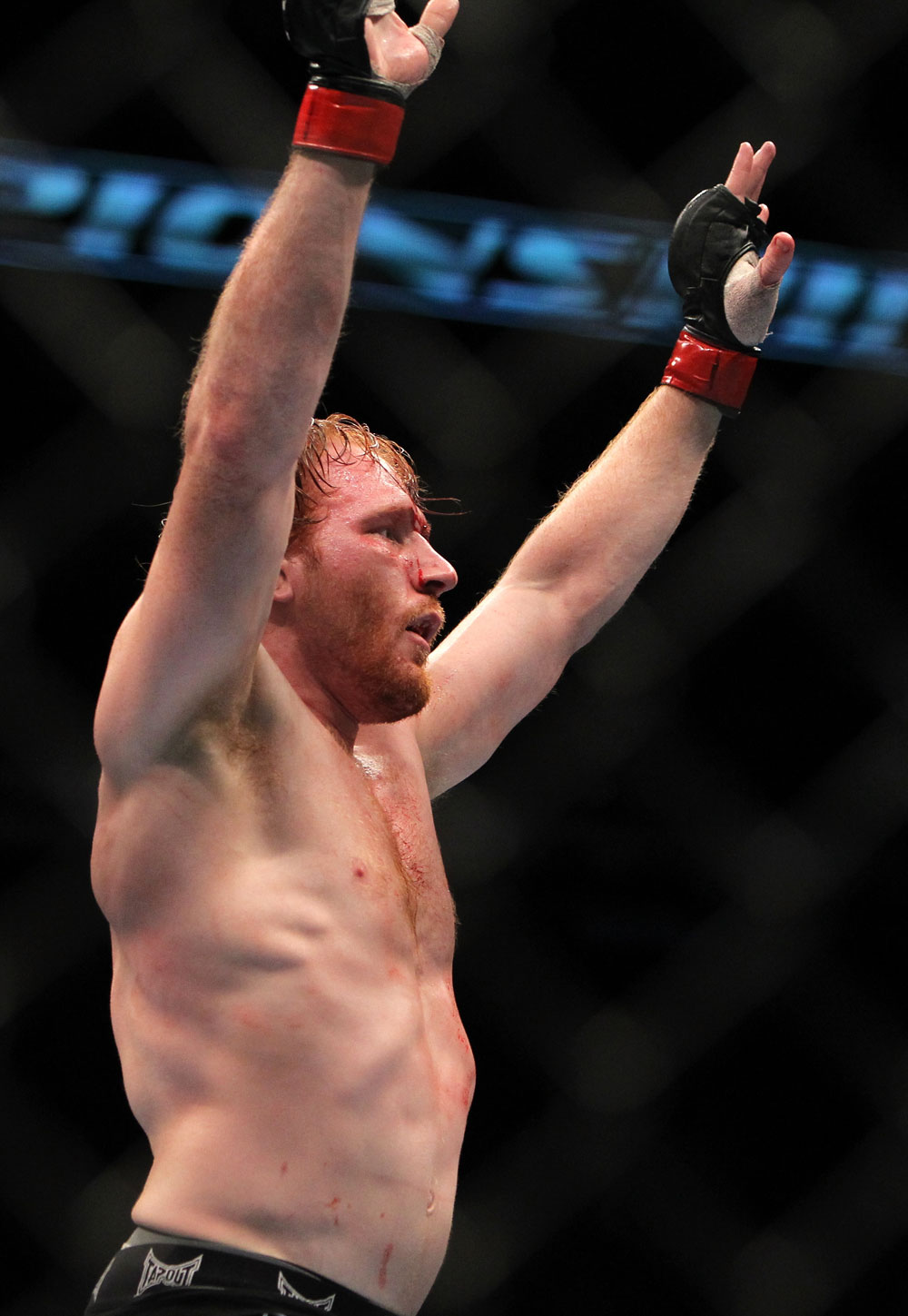 TORONTO, ON - DECEMBER 10:  Mark Bocek reacts after his hard-fought three-round battle against Nik Lentz during the UFC 140 event at Air Canada Centre on December 10, 2011 in Toronto, Ontario, Canada.  (Photo by Josh Hedges/Zuffa LLC/Zuffa LLC via Getty Images)