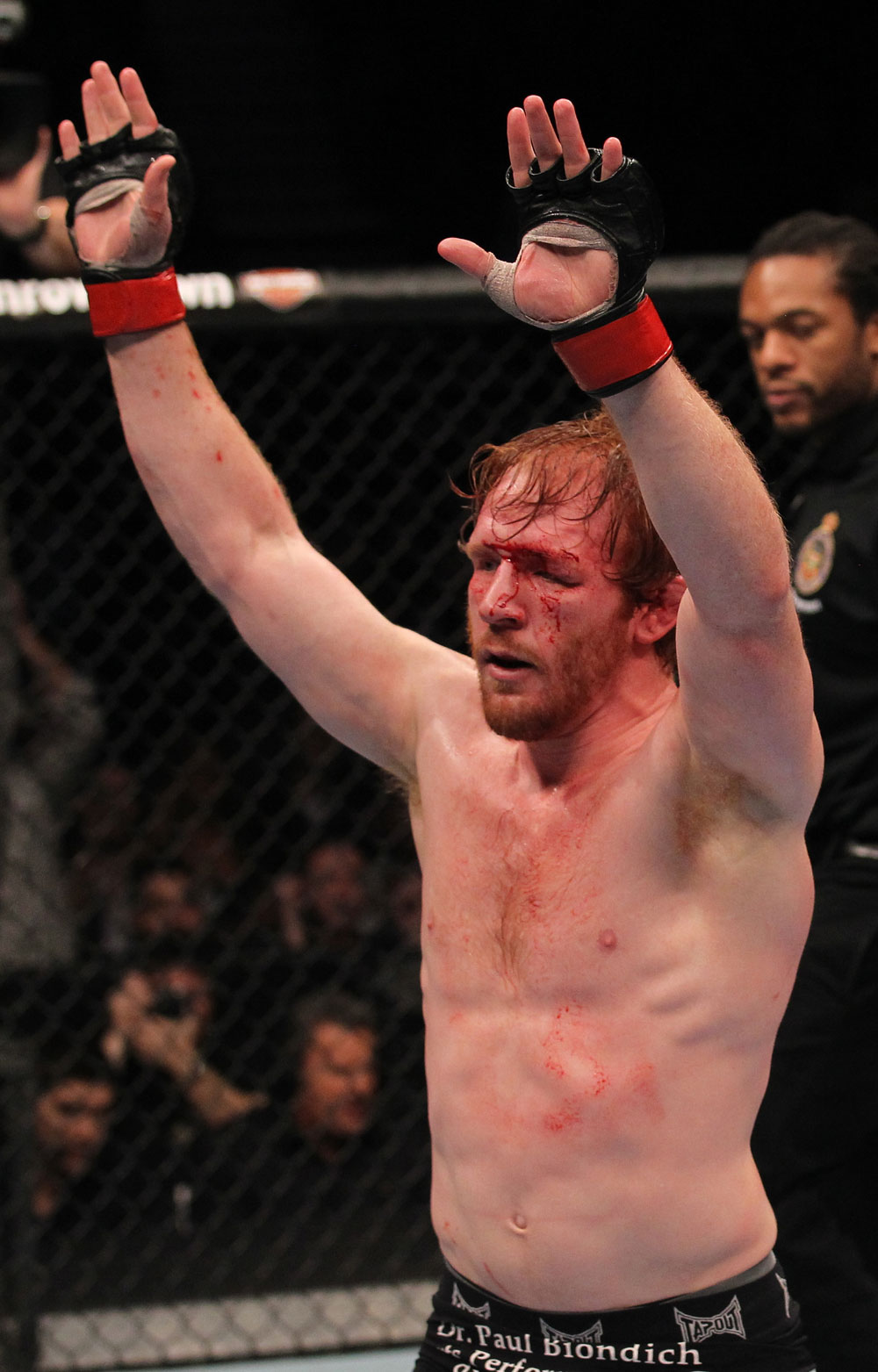 TORONTO, ON - DECEMBER 10:  Mark Bocek reacts after his decision victory over Nik Lentz during the UFC 140 event at Air Canada Centre on December 10, 2011 in Toronto, Ontario, Canada.  (Photo by Nick Laham/Zuffa LLC/Zuffa LLC via Getty Images)
