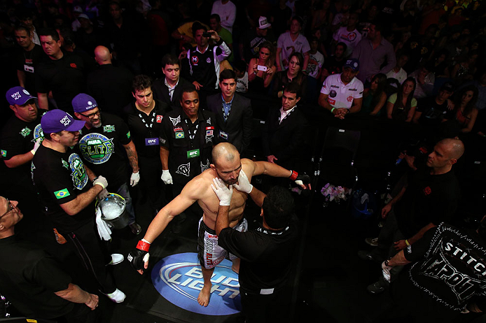 RIO DE JANEIRO, BRAZIL - OCTOBER 13:  Glover Teixeira prepares to enter the Octagon before his light heavyweight fight against Fabio Maldonado at UFC 153 inside HSBC Arena on October 13, 2012 in Rio de Janeiro, Brazil.  (Photo by Josh Hedges/Zuffa LLC/Zuffa LLC via Getty Images)