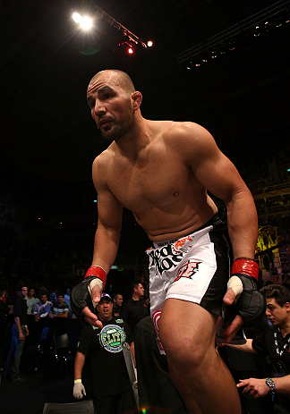 RIO DE JANEIRO, BRAZIL - OCTOBER 13:  Glover Teixeira enters the Octagon before his light heavyweight fight against Fabio Maldonado at UFC 153 inside HSBC Arena on October 13, 2012 in Rio de Janeiro, Brazil.  (Photo by Josh Hedges/Zuffa LLC/Zuffa LLC via Getty Images)