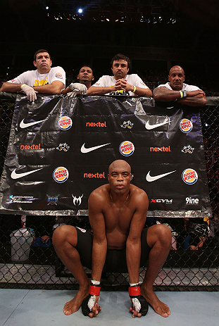 RIO DE JANEIRO, BRAZIL - OCTOBER 13:  Anderson Silva sits in his corner before his  light heavyweight fight against Stephan Bonnar at UFC 153 inside HSBC Arena on October 13, 2012 in Rio de Janeiro, Brazil.  (Photo by Josh Hedges/Zuffa LLC/Zuffa LLC via Getty Images)