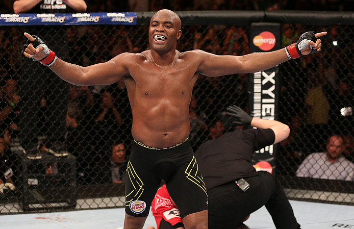 Anderson Silva reacts after his TKO victory over Stephan Bonnar at UFC 153 (Photo by Josh Hedges/Zuffa LLC via Getty Images)