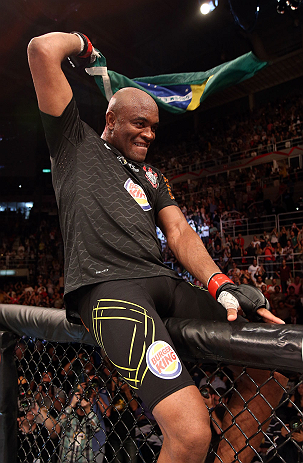 RIO DE JANEIRO, BRAZIL - OCTOBER 13:  Anderson Silva reacts after his TKO victory over Stephan Bonnar during their light heavyweight fight at UFC 153 inside HSBC Arena on October 13, 2012 in Rio de Janeiro, Brazil.  (Photo by Josh Hedges/Zuffa LLC/Zuffa LLC via Getty Images)