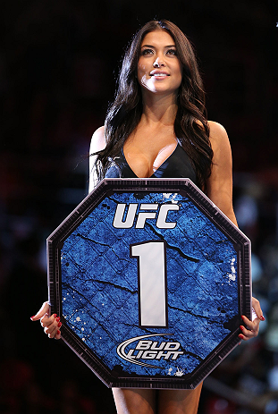 RIO DE JANEIRO, BRAZIL - OCTOBER 13:  UFC Octagon Girl Arianny Celeste introduces a round at UFC 153 inside HSBC Arena on October 13, 2012 in Rio de Janeiro, Brazil.  (Photo by Josh Hedges/Zuffa LLC/Zuffa LLC via Getty Images)