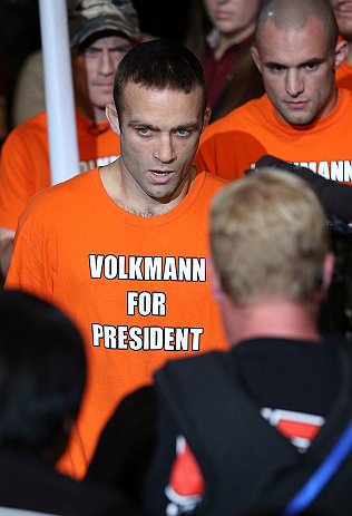MINNEAPOLIS, MN - OCTOBER 05:  Jacob Volkmann enters the arena before his lightweight fight against Shane Roller at the UFC on FX event at Target Center on October 5, 2012 in Minneapolis, Minnesota.  (Photo by Josh Hedges/Zuffa LLC/Zuffa LLC via Getty Images)