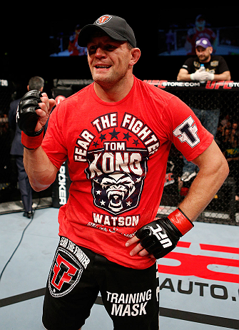 LONDON, ENGLAND - FEBRUARY 16:   Tom Watson reacts after defeating Stanislav Nedkov in their middleweight fight during the UFC on Fuel TV event on February 16, 2013 at Wembley Arena in London, England.  (Photo by Josh Hedges/Zuffa LLC/Zuffa LLC via Getty Images)
