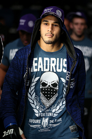 NOTTINGHAM, ENGLAND - SEPTEMBER 29:  Brad Tavares enters the arena before his middleweight fight against Tom Watson at the UFC on Fuel TV event at Capital FM Arena on September 29, 2012 in Nottingham, England.  (Photo by Josh Hedges/Zuffa LLC/Zuffa LLC via Getty Images)