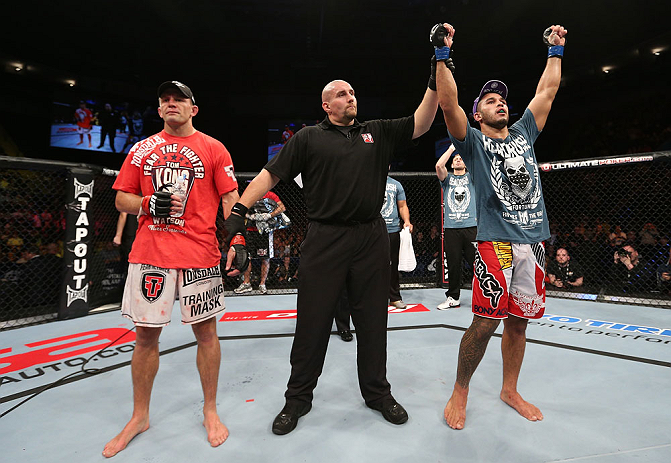 NOTTINGHAM, ENGLAND - SEPTEMBER 29:  Brad Tavares (R) reacts after defeating Tom Watson (L) during their middleweight fight at the UFC on Fuel TV event at Capital FM Arena on September 29, 2012 in Nottingham, England.  (Photo by Josh Hedges/Zuffa LLC/Zuffa LLC via Getty Images)