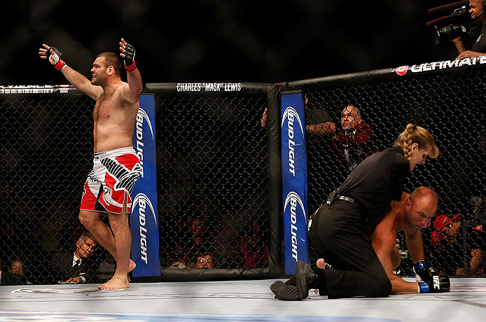 LAS VEGAS, NV - JULY 06:  (L-R) Gabriel Gonzaga reacts to his knockout victory over Dave Herman in their heavyweight fight during the UFC 162 event inside the MGM Grand Garden Arena on July 6, 2013 in Las Vegas, Nevada.  (Photo by Josh Hedges/Zuffa LLC/Zuffa LLC via Getty Images) *** Local Caption *** Gabriel Gonzaga; Dave Herman