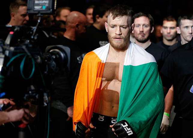 STOCKHOLM, SWEDEN - APRIL 06:  Conor McGregor enters the arena before his featherweight fight against Marcus Brimage at the Ericsson Globe Arena on April 6, 2013 in Stockholm, Sweden.  (Photo by Josh Hedges/Zuffa LLC/Zuffa LLC via Getty Images)