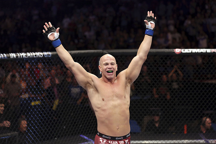 CALGARY, CANADA - JULY 21:  Ryan Jimmo celebrates after defeating Anthony Perosh by knockout in six seconds during round one of their light heavyweight bout at UFC 149 inside the Scotiabank Saddledome on July 21, 2012 in Calgary, Alberta, Canada.  (Photo by Nick Laham/Zuffa LLC/Zuffa LLC via Getty Images)