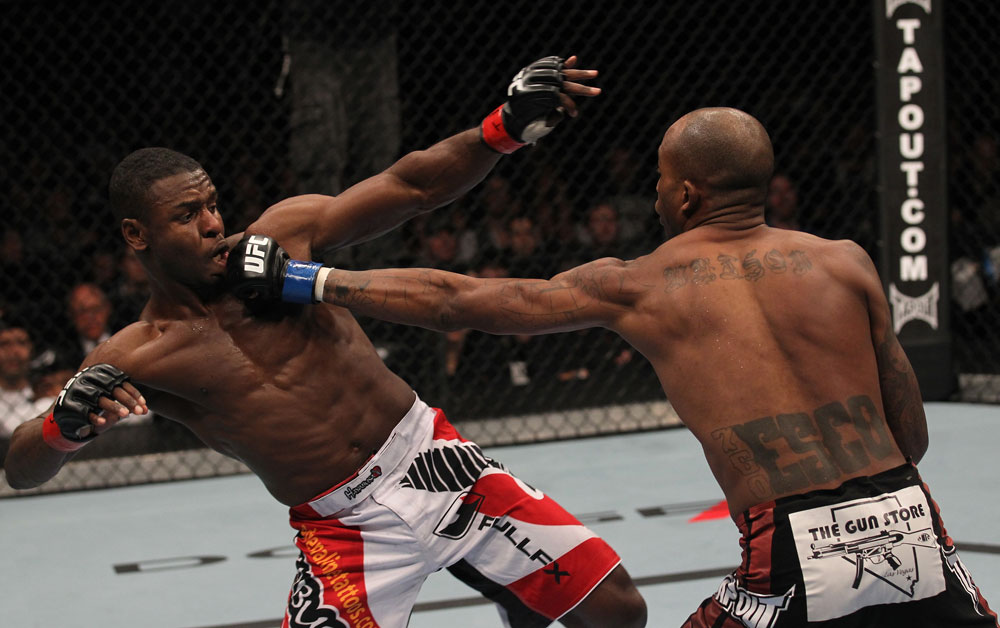 TORONTO, ON - DECEMBER 10:  (R-L) Walel Watson punches Yves Jabouin during the UFC 140 event at Air Canada Centre on December 10, 2011 in Toronto, Ontario, Canada.  (Photo by Nick Laham/Zuffa LLC/Zuffa LLC via Getty Images)