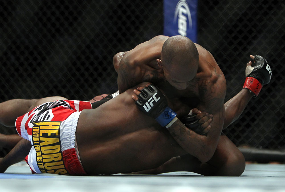 TORONTO, ON - DECEMBER 10:  (R-L) Walel Watson attempts a choke submission against Yves Jabouin during the UFC 140 event at Air Canada Centre on December 10, 2011 in Toronto, Ontario, Canada.  (Photo by Josh Hedges/Zuffa LLC/Zuffa LLC via Getty Images)