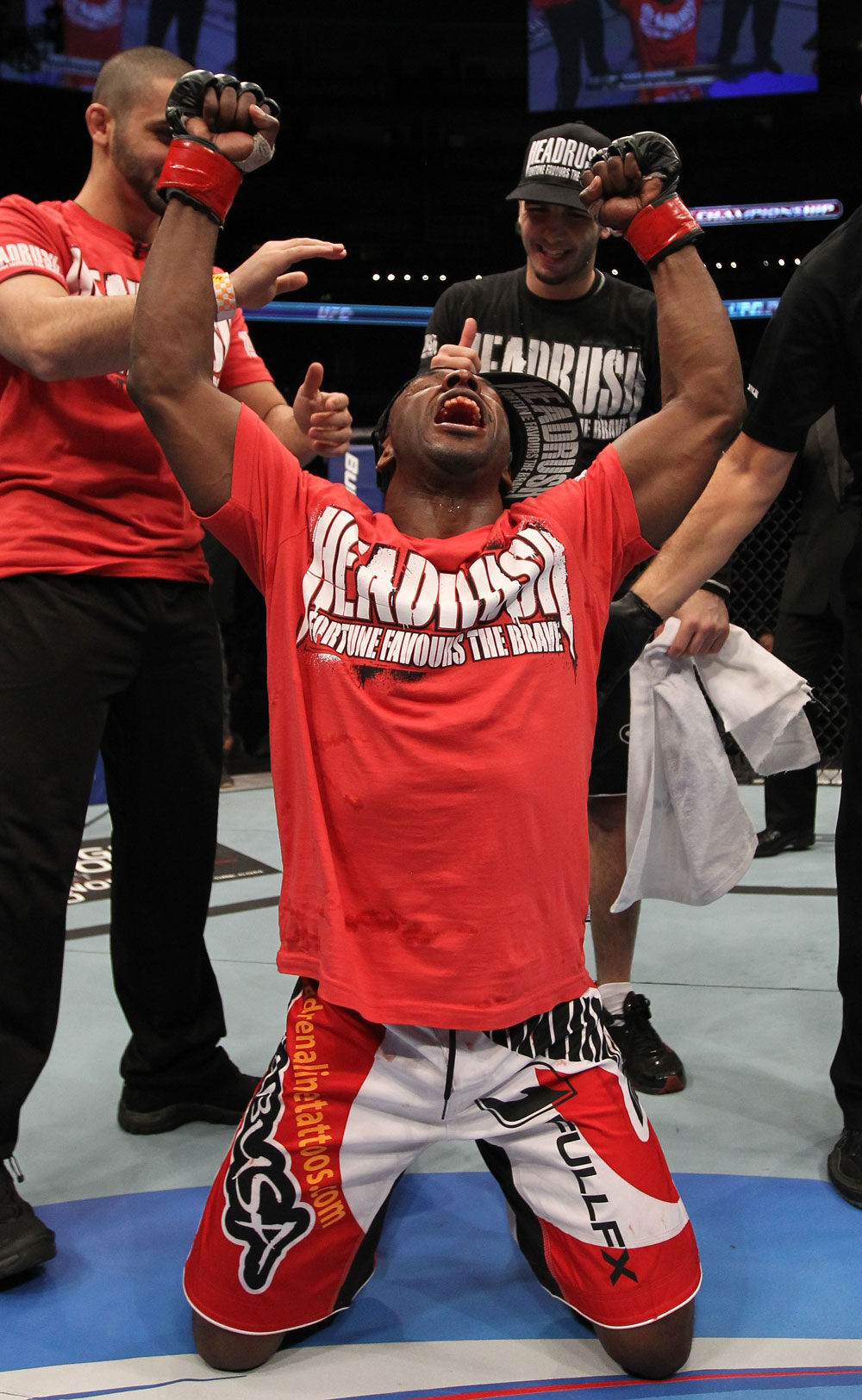TORONTO, ON - DECEMBER 10:  Yves Jabouin reacts after defeating Walel Watson by split decision during the UFC 140 event at Air Canada Centre on December 10, 2011 in Toronto, Ontario, Canada.  (Photo by Nick Laham/Zuffa LLC/Zuffa LLC via Getty Images)