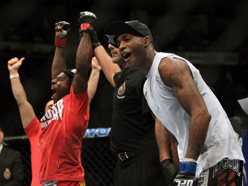 TORONTO, ON - DECEMBER 10:  Yves Jabouin (L) and Walel Watson (R) react after Jabouin is announced the winner by split decision in their bout during the UFC 140 event at Air Canada Centre on December 10, 2011 in Toronto, Ontario, Canada.  (Photo by Josh Hedges/Zuffa LLC/Zuffa LLC via Getty Images)
