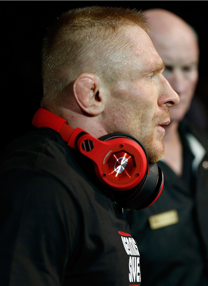 LAS VEGAS, NV - DECEMBER 28:  Dennis Siver walks to the Octagon to face Manny Gamburyan in their featherweight bout during the UFC 168 event at the MGM Grand Garden Arena on December 28, 2013 in Las Vegas, Nevada. (Photo by Josh Hedges/Zuffa LLC/Zuffa LLC via Getty Images) *** Local Caption *** Dennis Siver