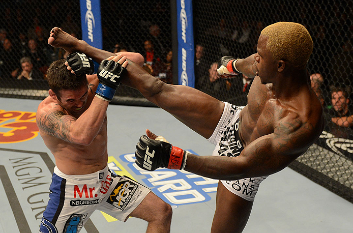 LAS VEGAS, NV - DECEMBER 29:  (R-L) Melvin Guillard kicks Jamie Varner during their lightweight fight at UFC 155 on December 29, 2012 at MGM Grand Garden Arena in Las Vegas, Nevada. (Photo by Donald Miralle/Zuffa LLC/Zuffa LLC via Getty Images) *** Local Caption *** Melvin Guillard; Jamie Varner