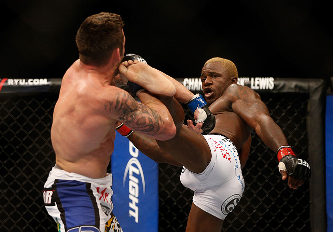 LAS VEGAS, NV - DECEMBER 29:  (R-L) Melvin Guillard kicks Jamie Varner during their lightweight fight at UFC 155 on December 29, 2012 at MGM Grand Garden Arena in Las Vegas, Nevada. (Photo by Josh Hedges/Zuffa LLC/Zuffa LLC via Getty Images) *** Local Caption *** Melvin Guillard; Jamie Varner