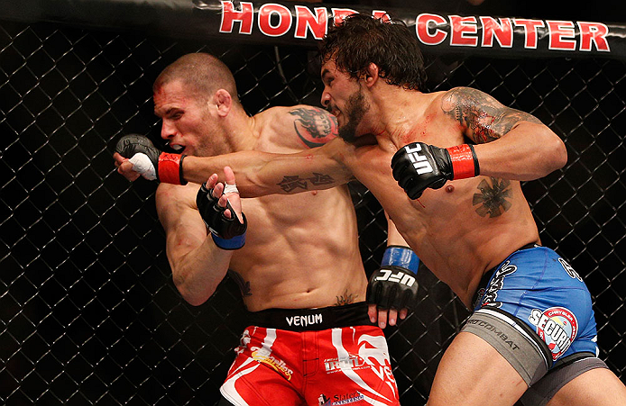 ANAHEIM, CA - FEBRUARY 23:  (R-L) Dennis Bermudez (right) punches Matt Grice in their featherweight bout during UFC 157 at Honda Center on February 23, 2013 in Anaheim, California.  (Photo by Josh Hedges/Zuffa LLC/Zuffa LLC via Getty Images) *** Local Caption *** Dennis Bermudez; Matt Grice