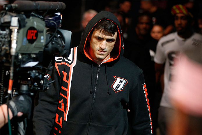 HOUSTON, TEXAS - OCTOBER 19:  George Sotiropoulos enters the arena before facing KJ Noons (not pictured) in their UFC lightweight bout at the Toyota Center on October 19, 2013 in Houston, Texas. (Photo by Josh Hedges/Zuffa LLC/Zuffa LLC via Getty Images)