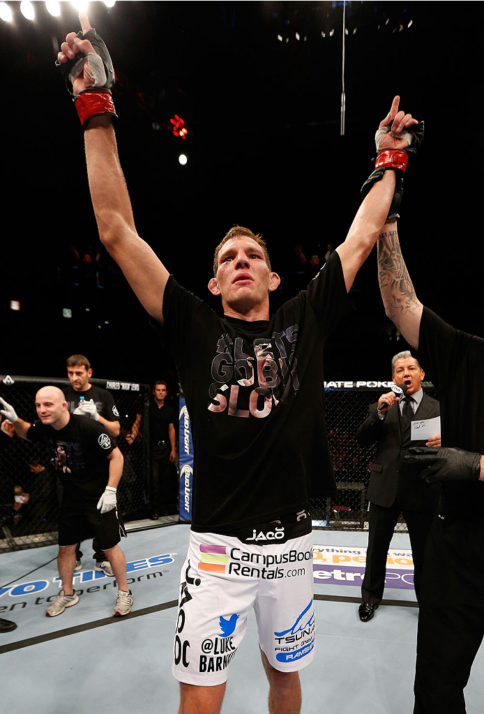 MANCHESTER, ENGLAND - OCTOBER 26:  Luke Barnatt reacts after defeating Andrew Craig in their middleweight bout during the UFC Fight Night event at Phones 4 U Arena on October 26, 2013 in Manchester, England. (Photo by Josh Hedges/Zuffa LLC/Zuffa LLC via Getty Images)