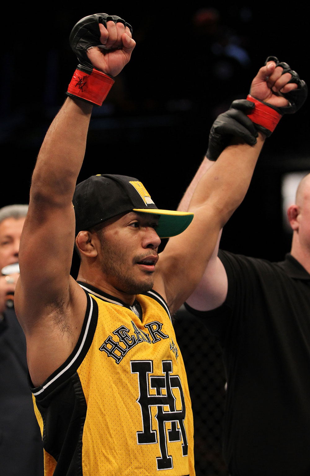 OMAHA, NE - FEBRUARY 15:  Ivan Menjivar reacts after defeating John Albert during the UFC on FUEL TV event at Omaha Civic Auditorium on February 15, 2012 in Omaha, Nebraska.  (Photo by Josh Hedges/Zuffa LLC/Zuffa LLC via Getty Images) *** Local Caption *** Ivan Menjivar