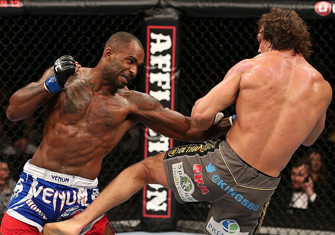 NOTTINGHAM, ENGLAND - SEPTEMBER 29:  (L-R) Jimi Manuwa punches Kyle Kingsbury during their light heavyweight fight at the UFC on Fuel TV event at Capital FM Arena on September 29, 2012 in Nottingham, England.  (Photo by Josh Hedges/Zuffa LLC/Zuffa LLC via Getty Images)