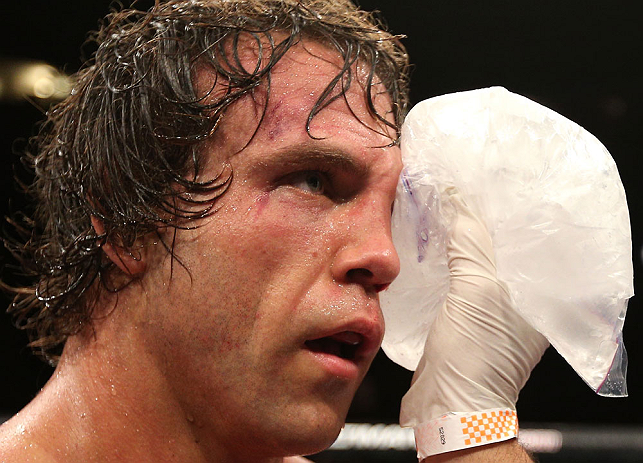 NOTTINGHAM, ENGLAND - SEPTEMBER 29:  Kyle Kingsbury applies ice to his eye after his TKO loss against Jimi Manuwa at the UFC on Fuel TV event at Capital FM Arena on September 29, 2012 in Nottingham, England.  (Photo by Josh Hedges/Zuffa LLC/Zuffa LLC via Getty Images)